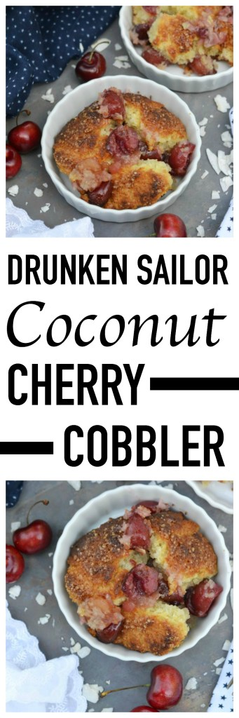 Coconut extract, unsweetened shredded coconut, and dark rum help to make this cherry cobbler one that any drunken sailor would willingly brave the seas for.