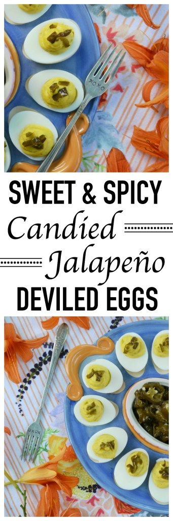 Candied sliced jalapeños make these sweet and spicy flavored deviled eggs perfect for your next cookout, picnic, or family gathering.