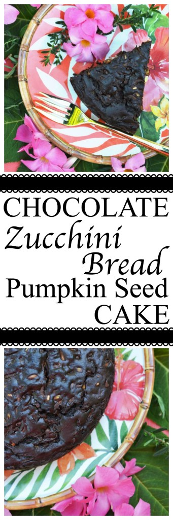 This chocolate zucchini bread is really more of a cake with its moist rich texture, salty pumpkin seed crunch, and mega-dose of gooey chocolate chips.