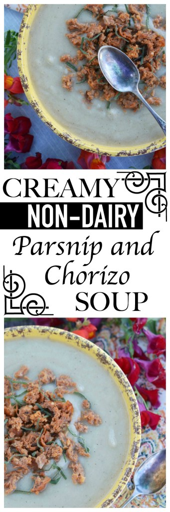 It is indeed possible to achieve a creamy soup with no dairy involved; this parsnip, chorizo, and sage soup is the perfect example.