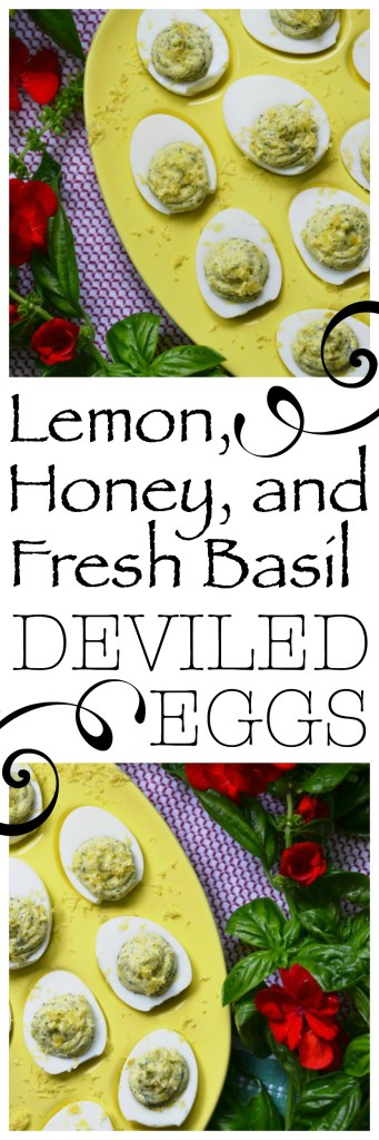 Lemon, honey, and fresh basil are blended together with mayonnaise, Dijon mustard, sea salt, and pepper to create these bright and flavorful deviled eggs.