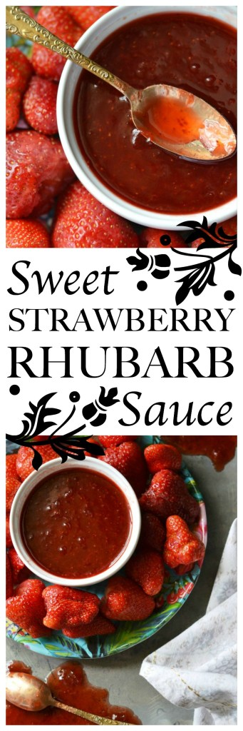 Fresh strawberries, rhubarb, sugar, sea salt, and lemon juice come together for a gorgeously sweet sauce that can be used on ice cream or pancakes.