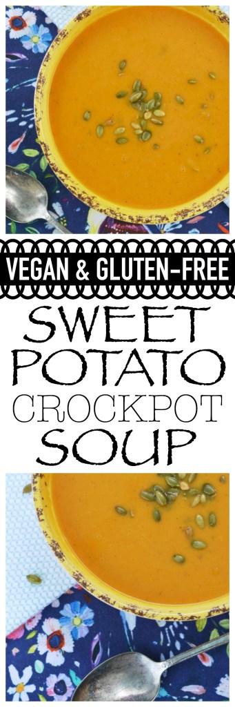 A simple autumn-inspired healthy crockpot sweet potato soup which will satisfy vegan, gluten-free, and non-restrictive diets.