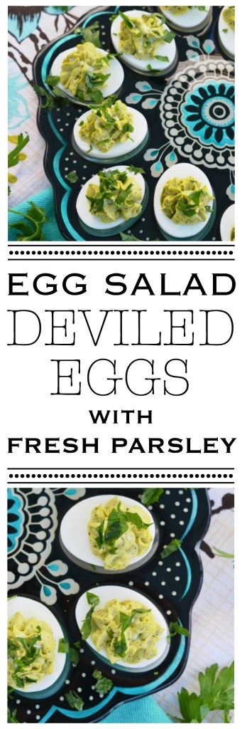These Egg Salad Deviled Eggs with Fresh Parsley are sure to be the highlight of your next Thanksgiving, Christmas, or Easter holiday table.