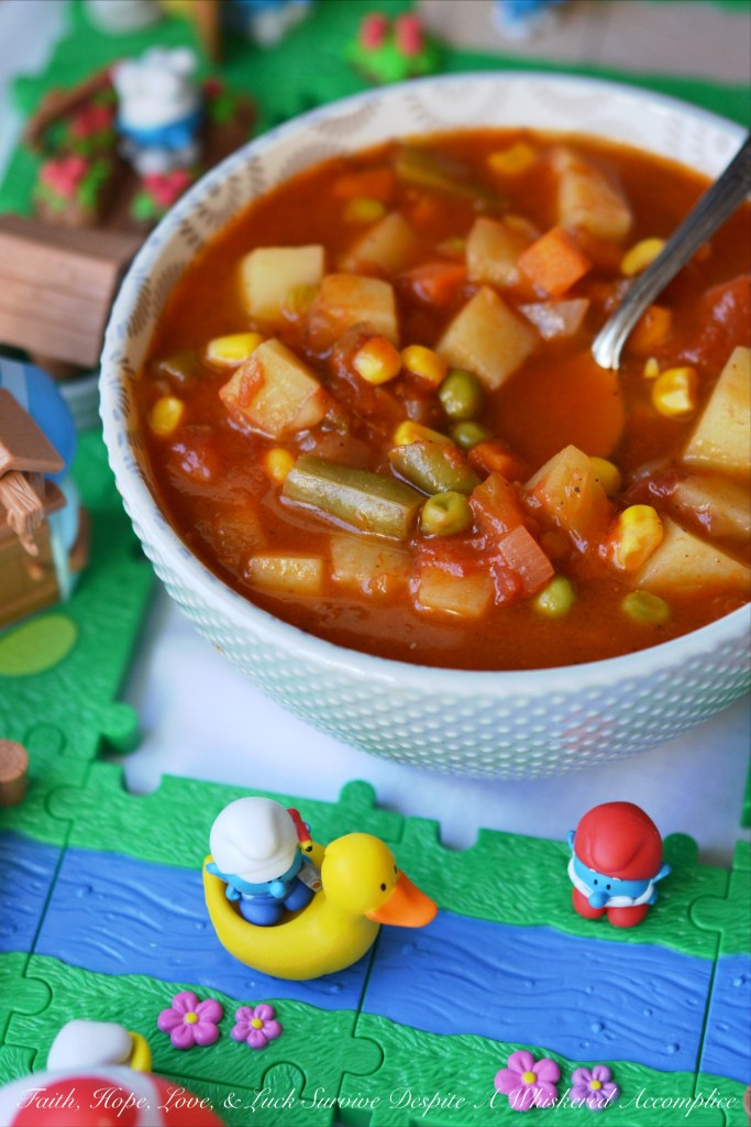This classic version of a childhood vegetable soup is loaded with potatoes, carrots, corn, green beans, peas, and onions. It's comfort food at its best.