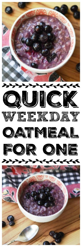 Delicious and nutritious quick weekday oatmeal for one in five minutes. There's no longer any excuse not to have a healthy breakfast during the week.