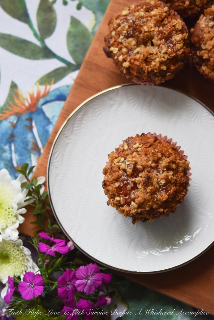 Strawberry rhubarb jam lends a sweet fruity flavor to these delicious muffins sprinkled with just a touch of brown sugar, butter, and oatmeal crumble topping.