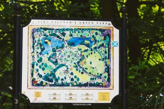 DUBLIN, IRELAND - 5th July, 2017: detail of the St Stephen's Green Park Panel in Dublin city centre