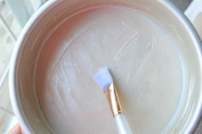 cake pan, pan release, paint brush