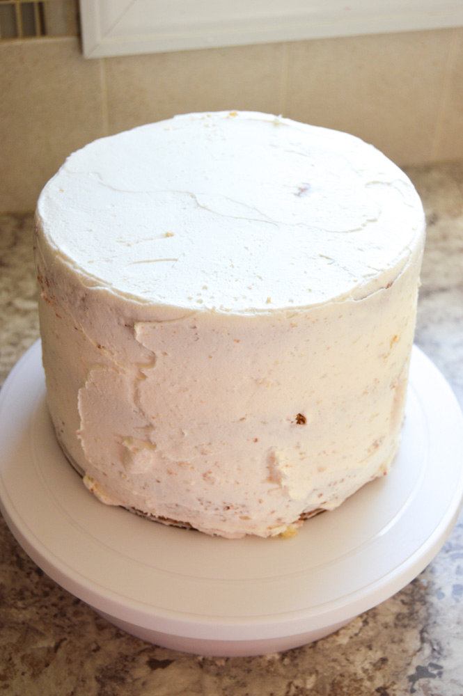 crumb coated buttercream cake