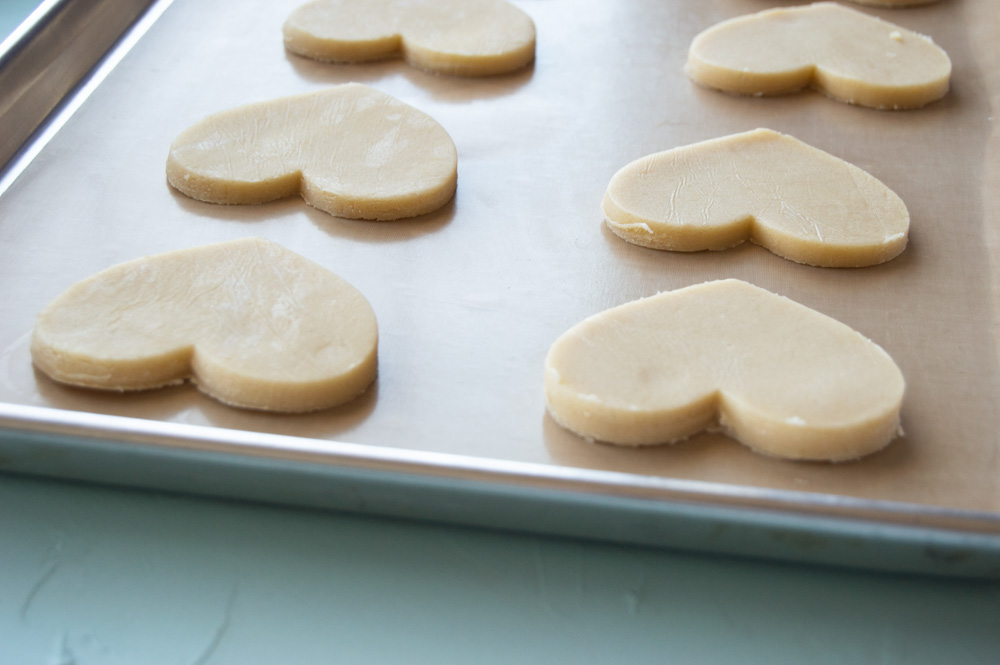 heart cookies on a pan