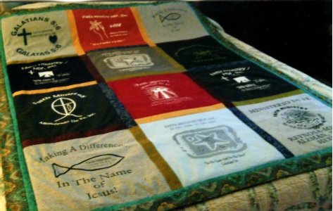 A Faith Ministry t-shirt quilt is being auctioned off on our website