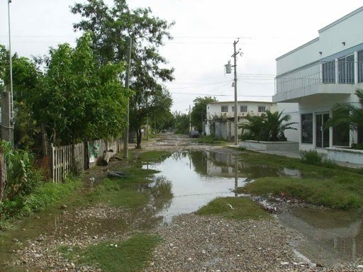 Damage from Hurricane Alex to the street outside the clinic
