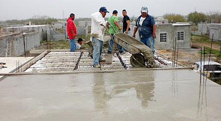 Pouring a roof in Miguel Aleman