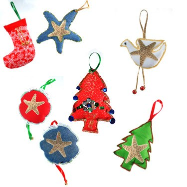 Ornaments made by women in the sewing program in Mexico