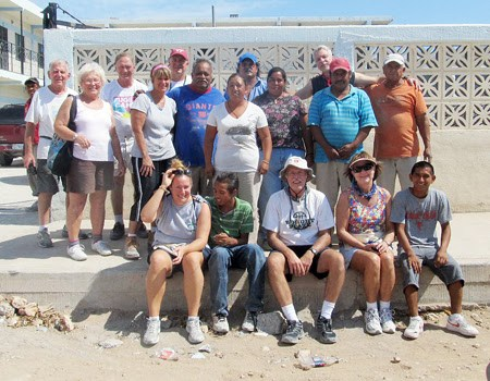 A mission work group outside the complex in Reynosa