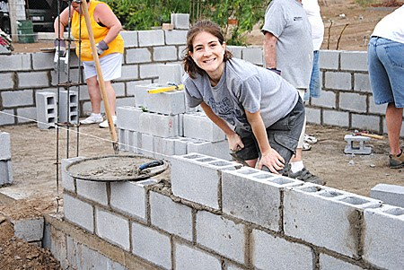 Laying blocks to build a house in Miguel Aleman