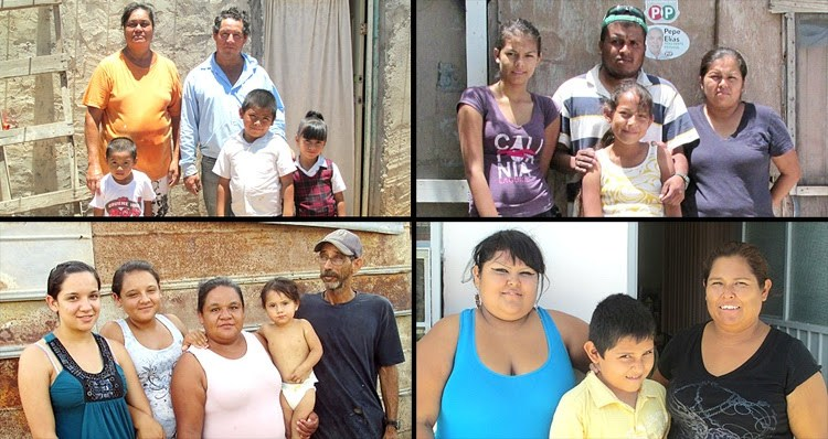 Four families who will now receive houses in Mexico