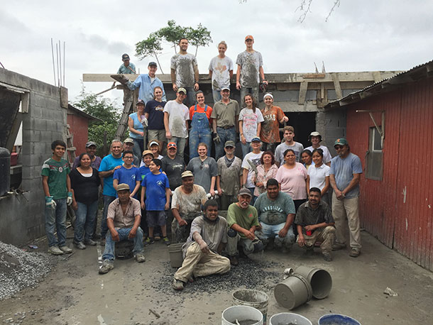 Two mission work groups after pouring two roofs in Reynosa
