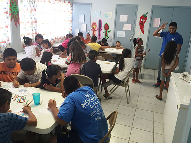 Our new pastor Carlos with the kids in the nutrition program in Reynosa