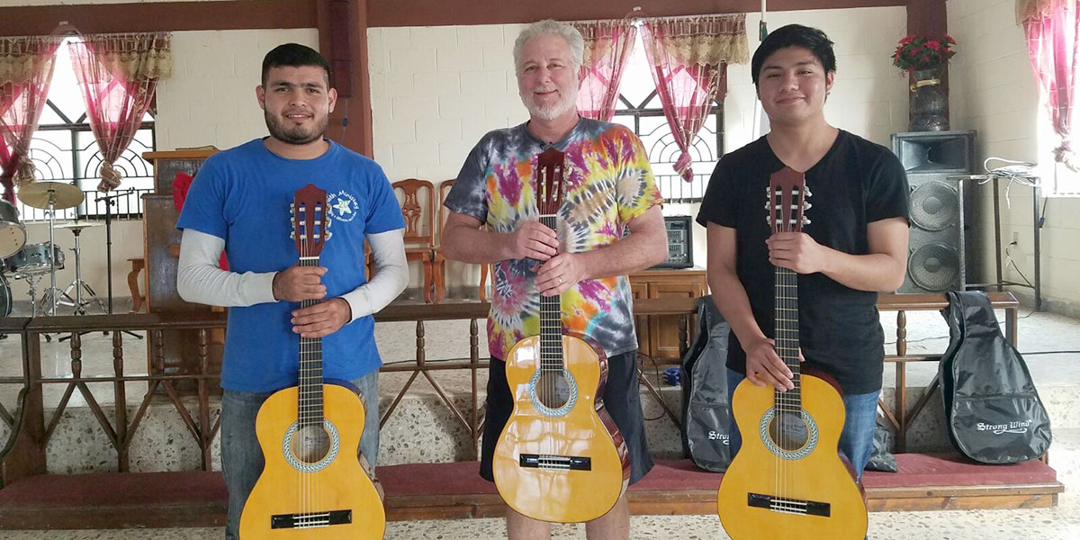 Dave from a music school provided guitars for our church and taught music lessons