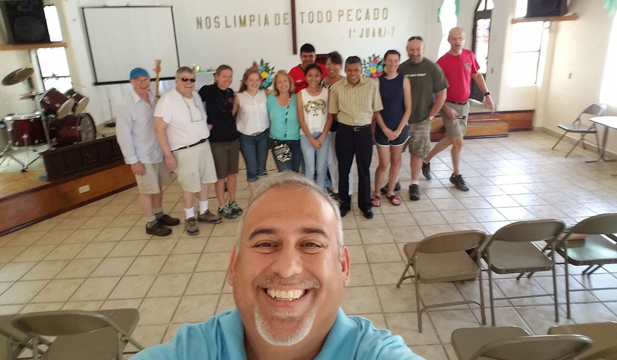 A team and David visiting the church in Miguel Aleman