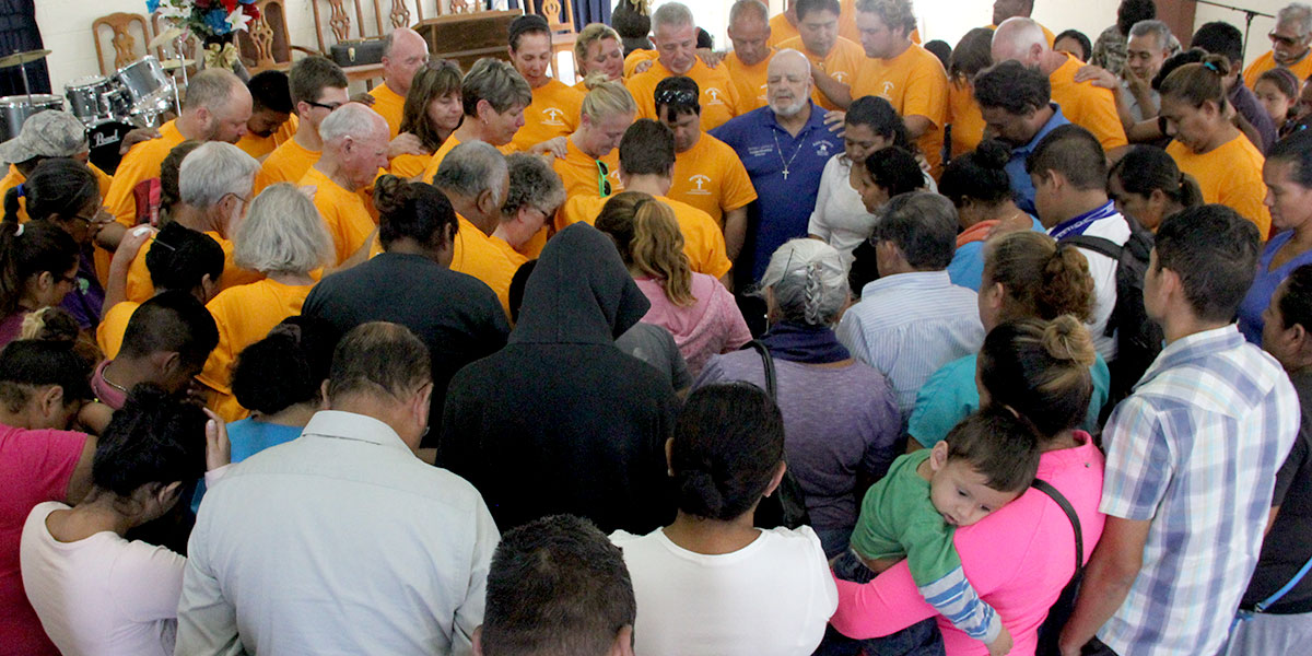 A special time of prayer at a Reynosa dedication service