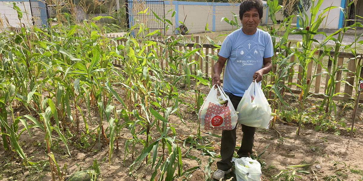 Jose with freshly harvested corn in the garden in Naranjito