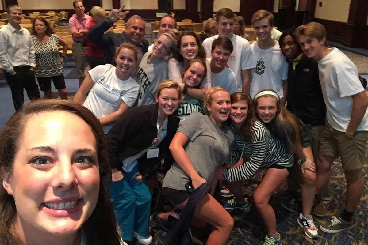 Colleen with the youth from Myers Park in Charlotte