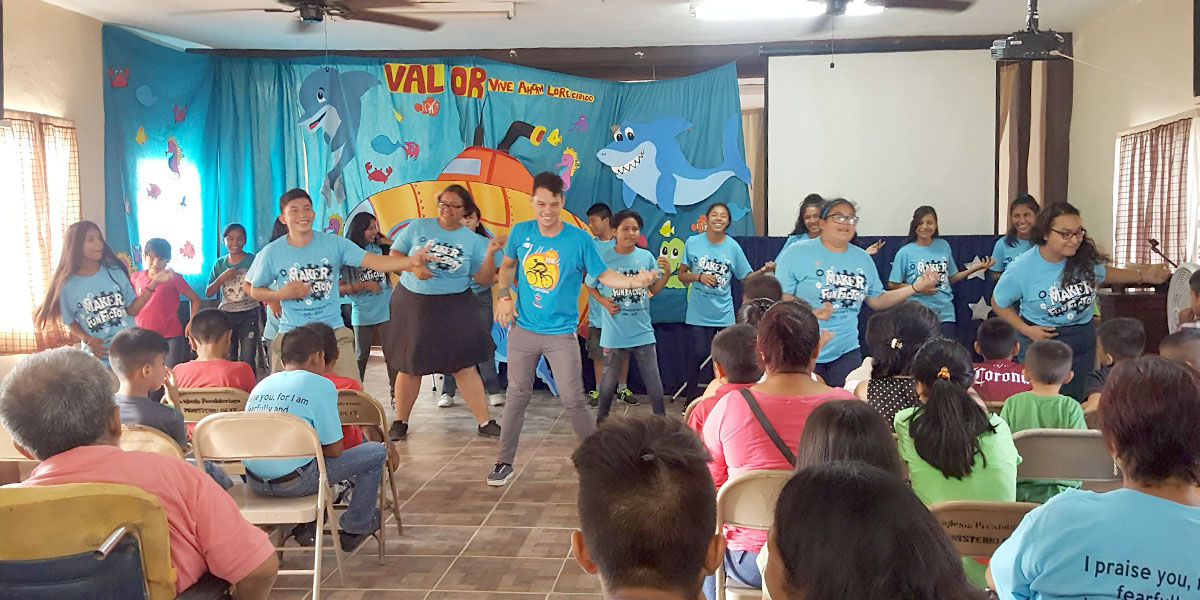 Performing a song at Vacation Bible School in Naranjito
