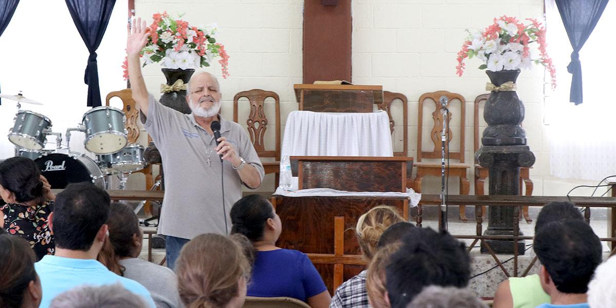 Deantin singing at the church in Reynosa