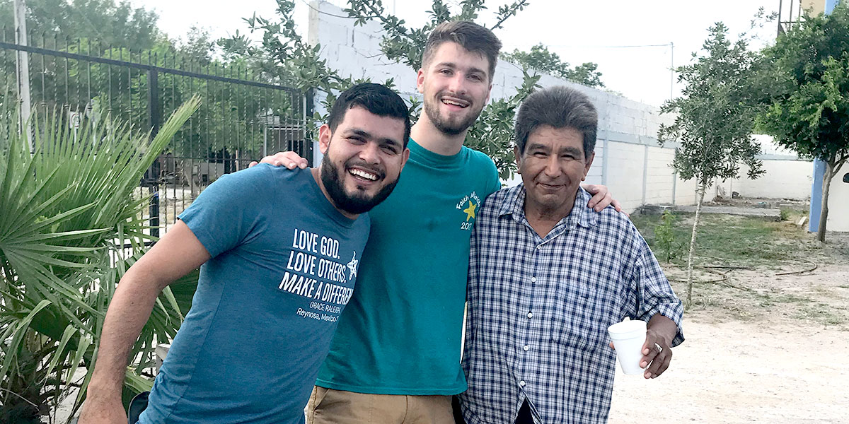 Our returning intern Luke with his friends in Naranjito