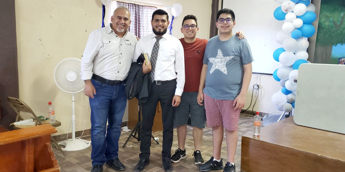 David and his sons with Pastor Carlos on Dia del Pastor