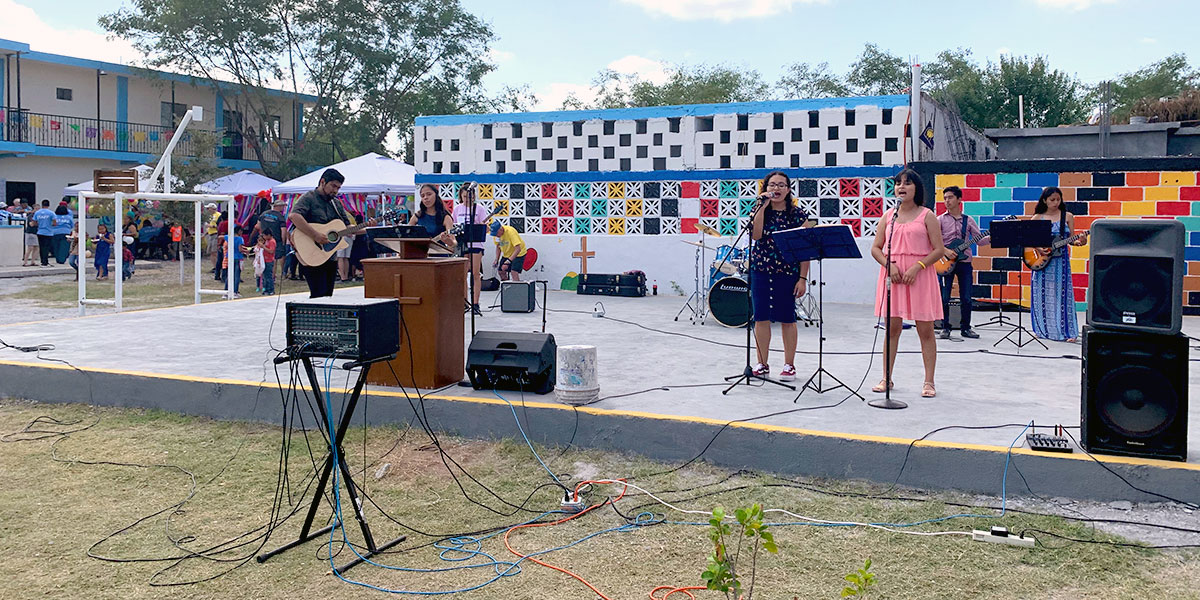 The church youth band performing at the 25th anniversary fiesta in Naranjito