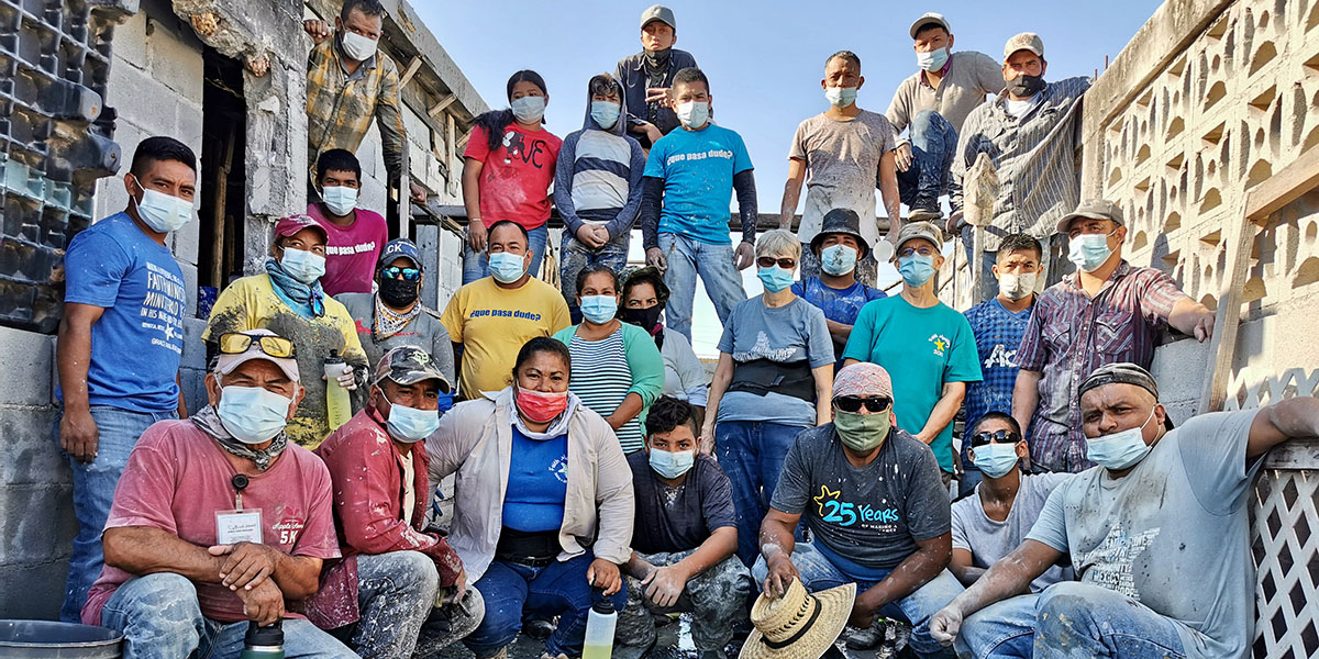 The team and the staff and volunteers after pouring the roof of Casa 7 in Reynosa Mexico