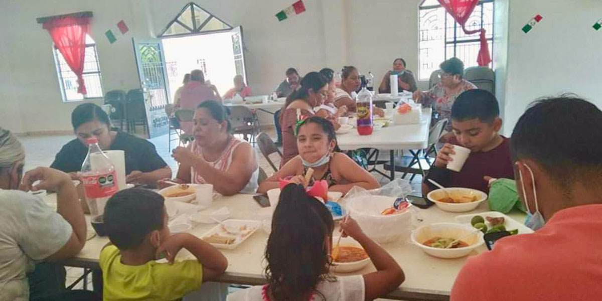 The church in Miguel Aleman celebrating Mexico Independence Day