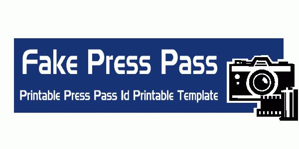 Fake Press Pass Template Free Resume Templates