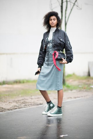 PARIS, FRANCE - MARCH 01: Imaan Hammam seen before the handms studio event in the streets of Paris on March 1, 2017 in Paris, France. (Photo by Timur Emek/Getty Images)