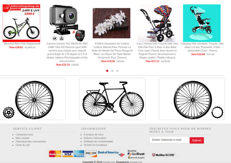 Jjstrade.top Fake Online Store Scam Cycling Products