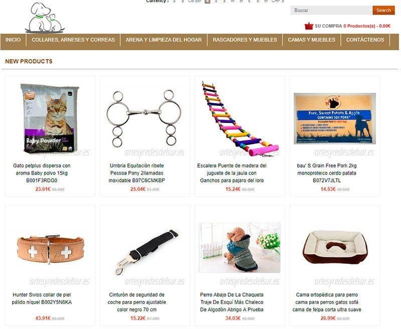 artesyredesdelsur.es tienda falsa online cosas para perros y gatos