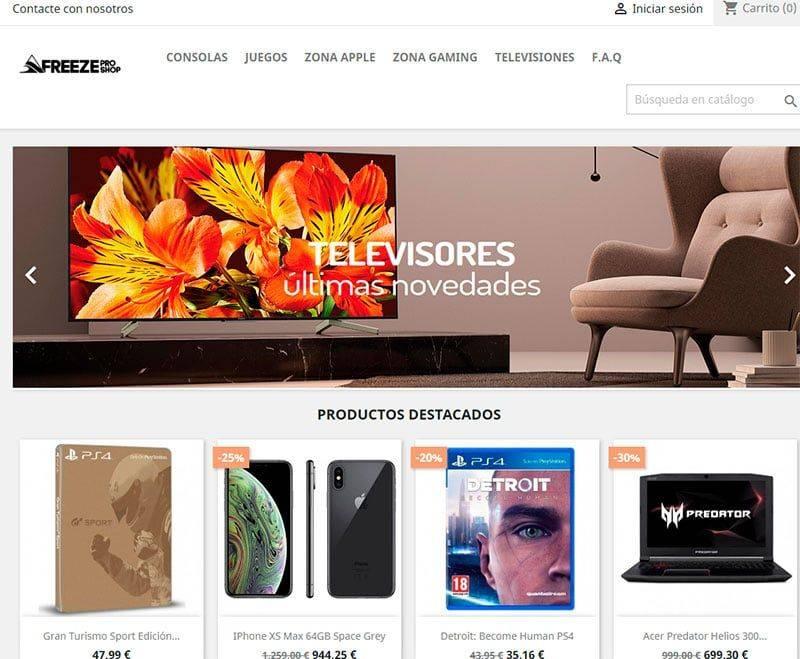 freezeproshops.com tienda online falsa tecnlogía