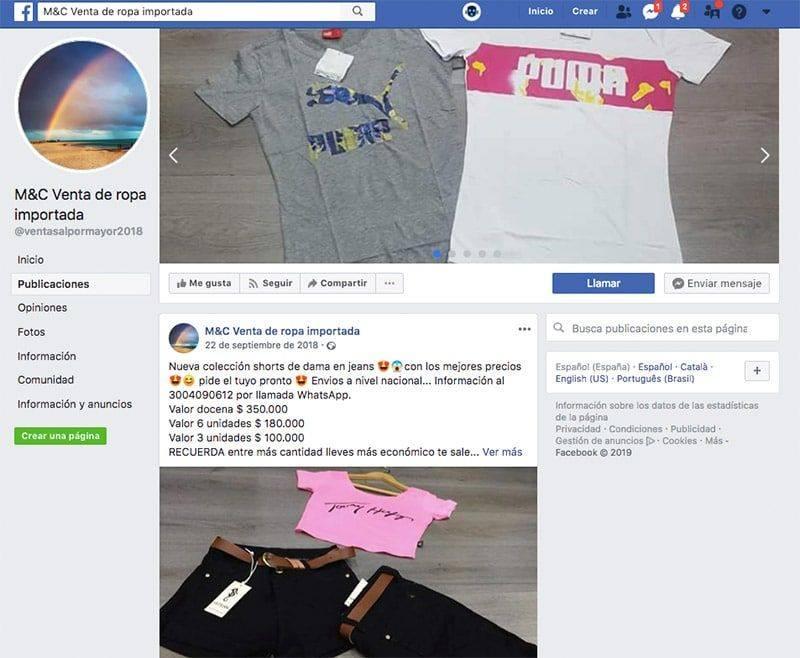 Mc Venta De Ropa Importada Falsa Tienda De Facebook