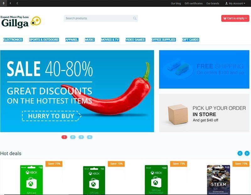 Gillga.com Tienda Falsa Online Tarjetas Regalo