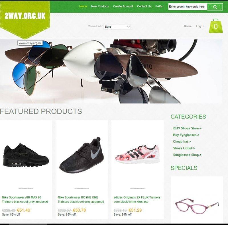 2way.org.uk Tienda Falsa Online Calzado Gafas Sombreros