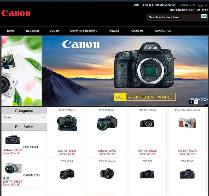 Melcans.store Tienda Online Falsa Camaras Canon
