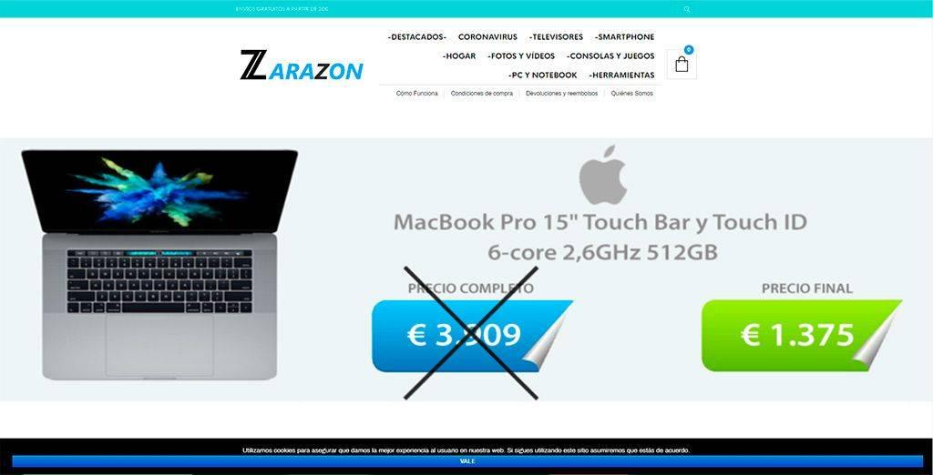 Zarazon.com Tienda Online Falsa Tecnologia