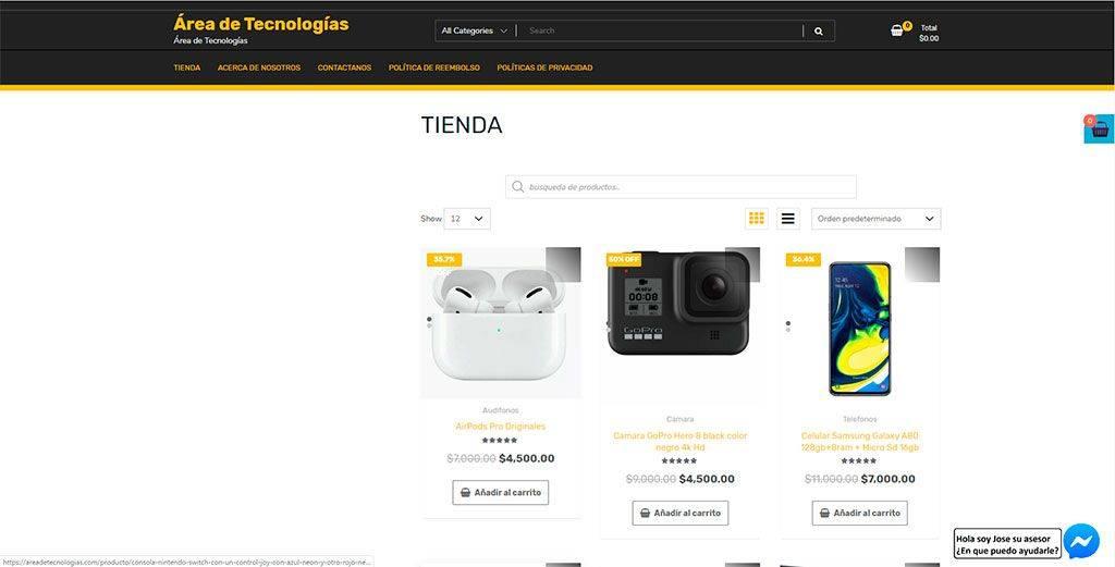 Areadetecnologias.com Tienda Online Falsa Tecnologia