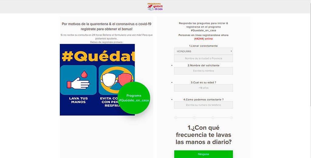 Quedateencas.com Web Falsa Ayuda Coronavirus