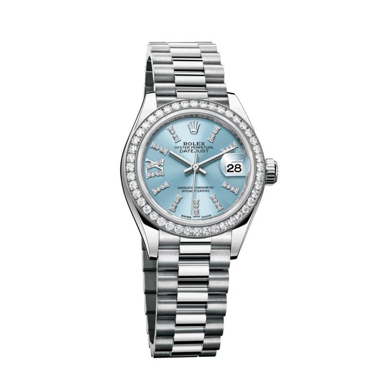 ساعة رولكس أويستر بربتشوال ليدي ديت جست النسائية المصنوعة من البلاتين بقطر 28مم