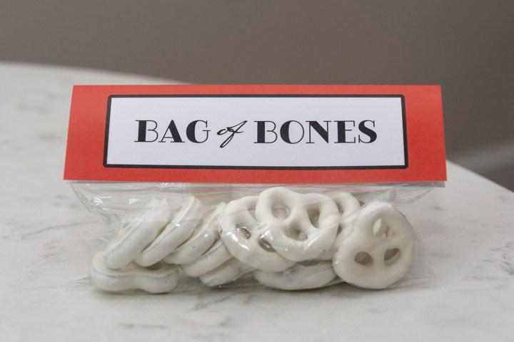 Bag of Bones Yogurt Pretzels craft project tutorial and free printable